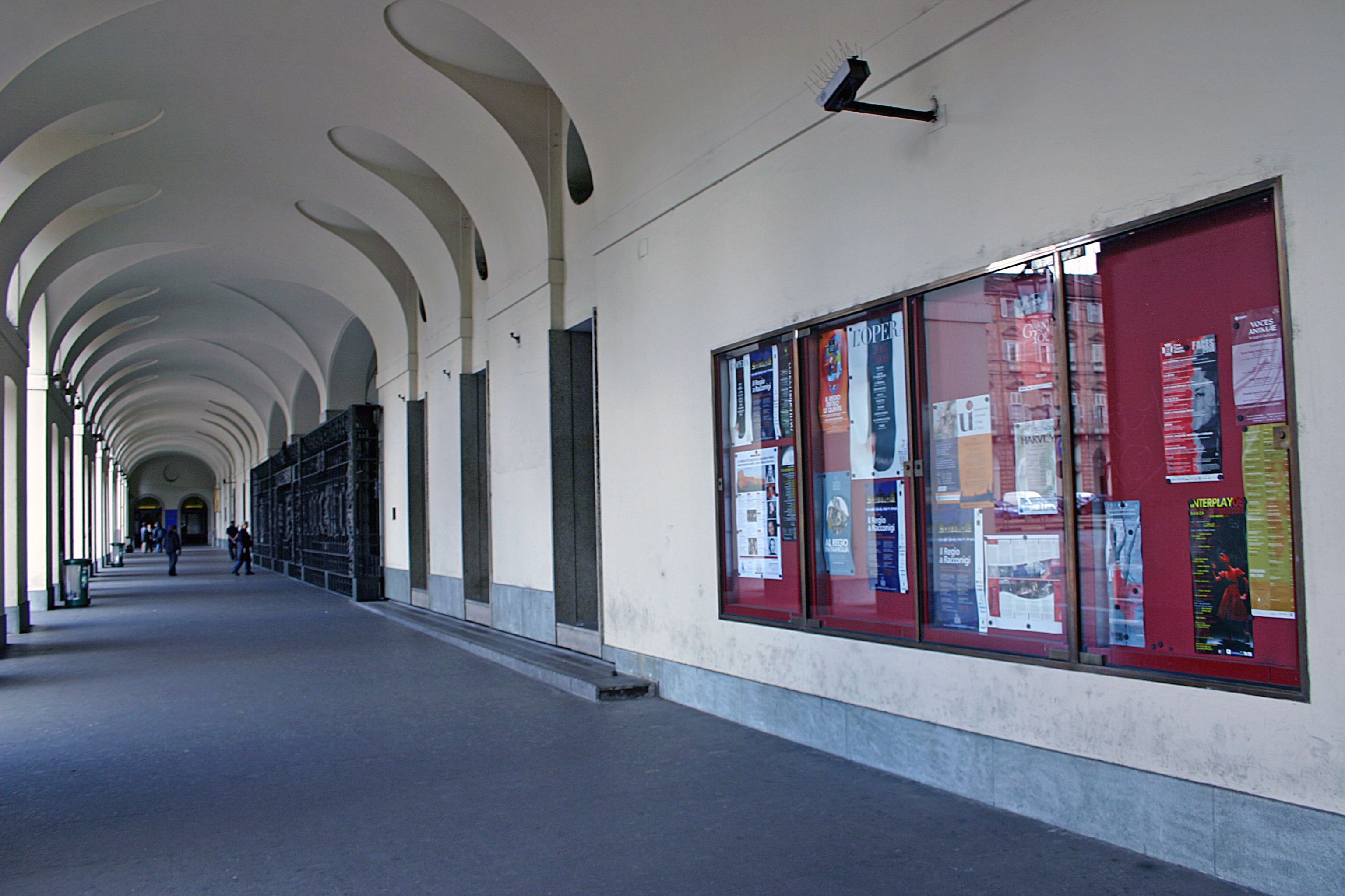 Porticos in front of the theatre entrance, in piazza Castello
