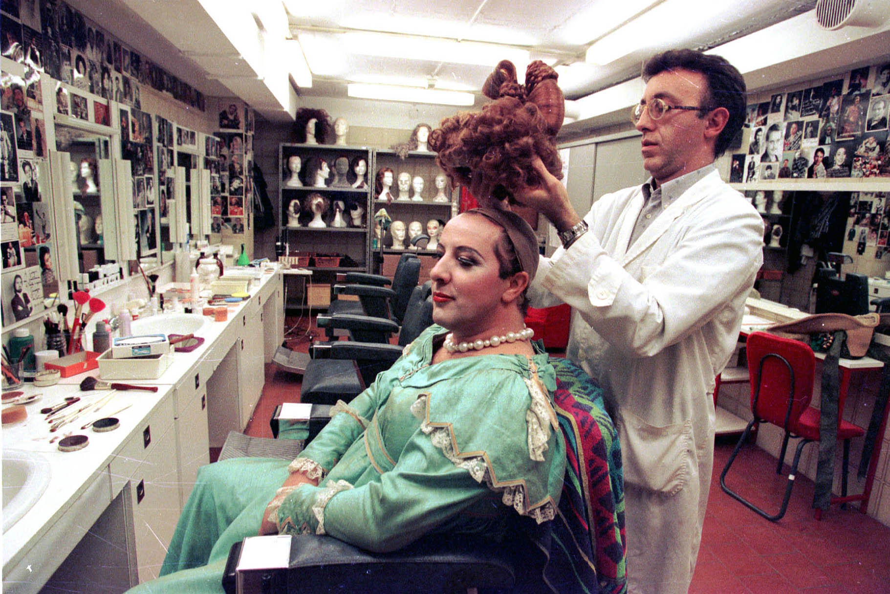 The preparation of the character in the make-up room