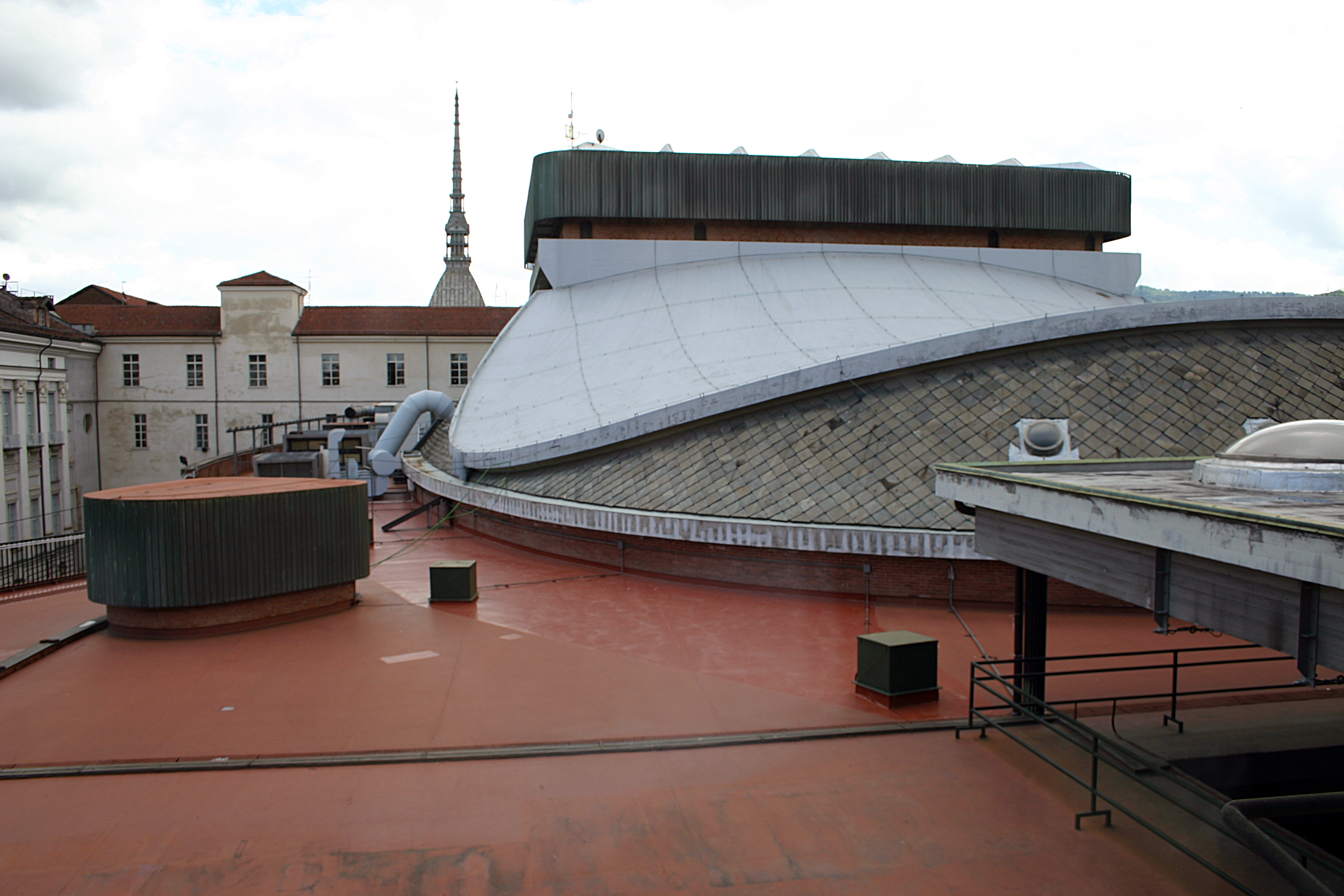 The terrace of the Teatro Regio with its typical cover with a hyperbolic paraboloid shape, with the fly tower on the top