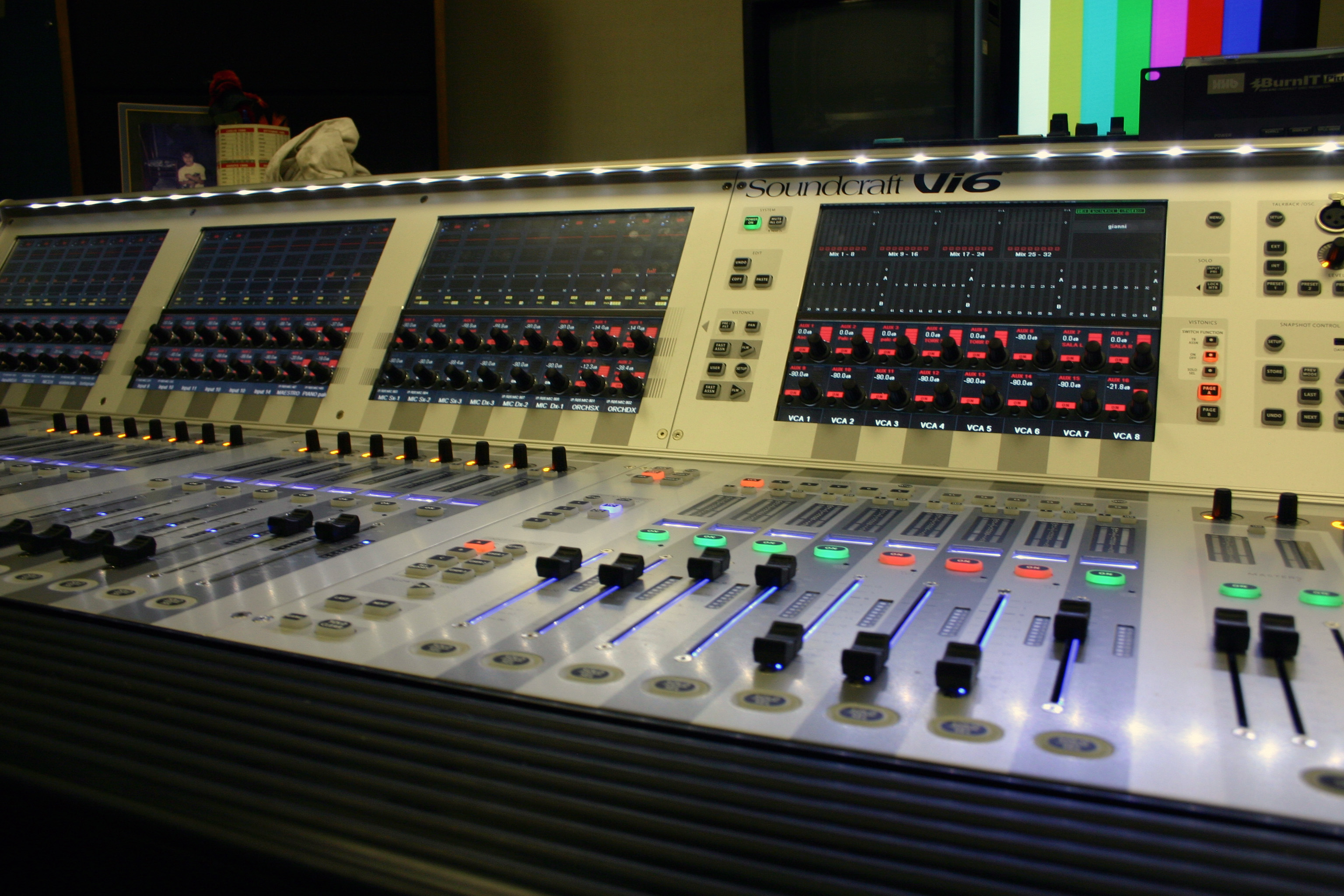 The big audio digital mixer wchich controls all audio signals coming from or going to the auditorium