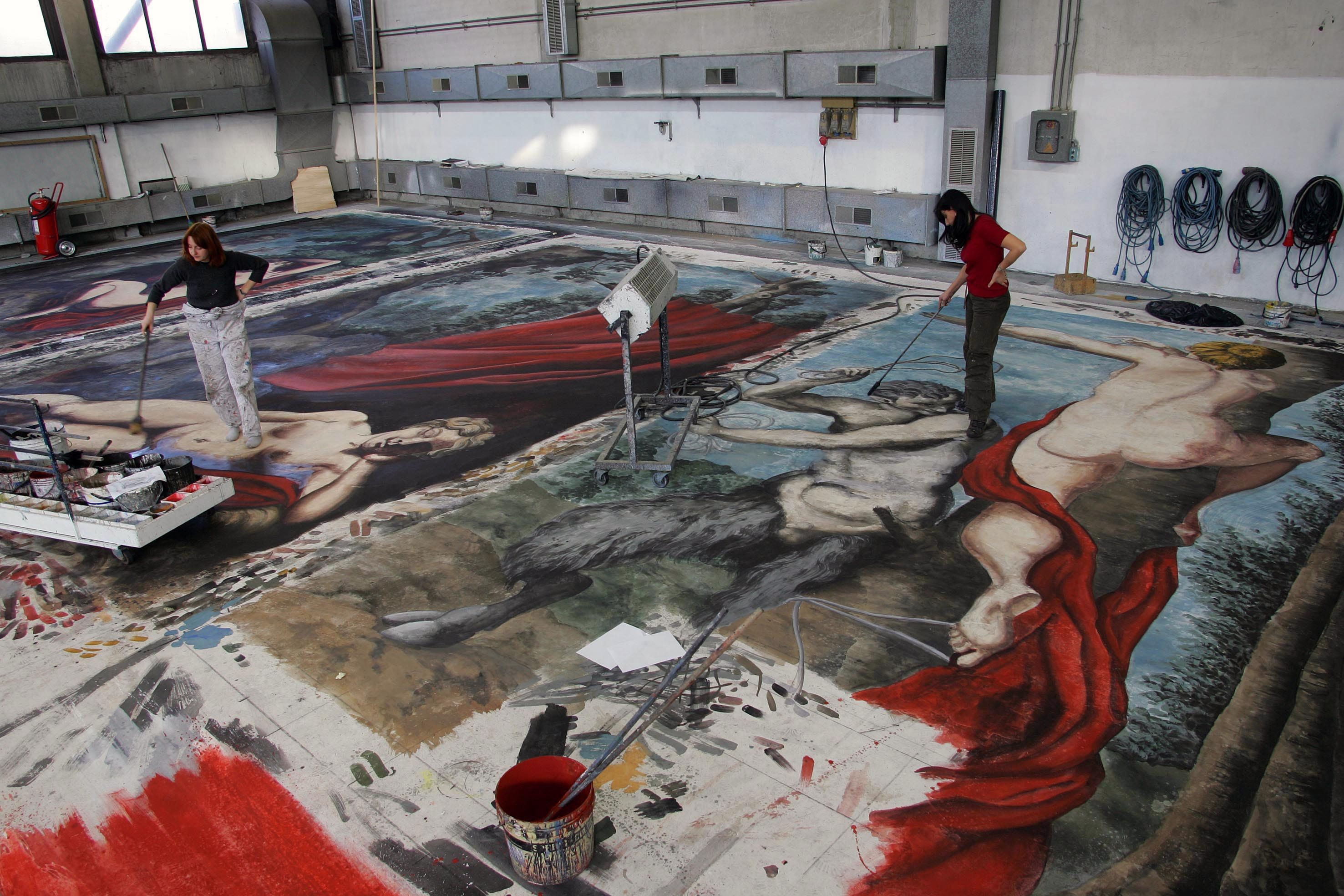 "Painting of some backdrops in the sets workshop of the Regio (""Don Giovanni"" by Mozart, direction by Michele Placido, sets by Maurizio Balò)"