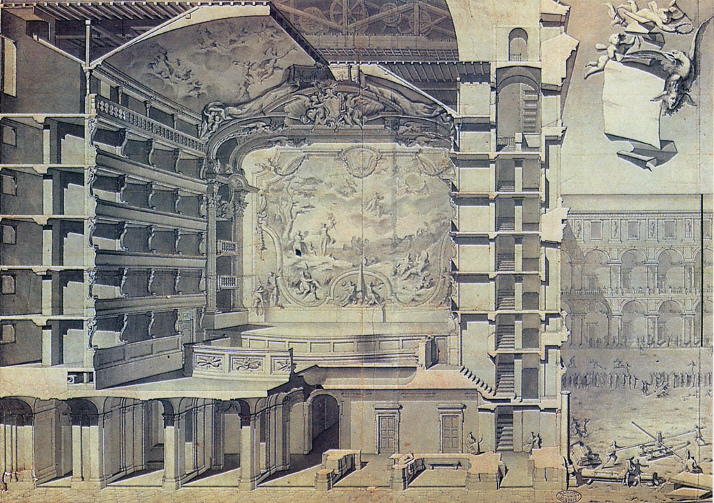 Benedetto Alfieri, Preparatory drawing of figure XI (Perspective cross section with view of the proscenium)