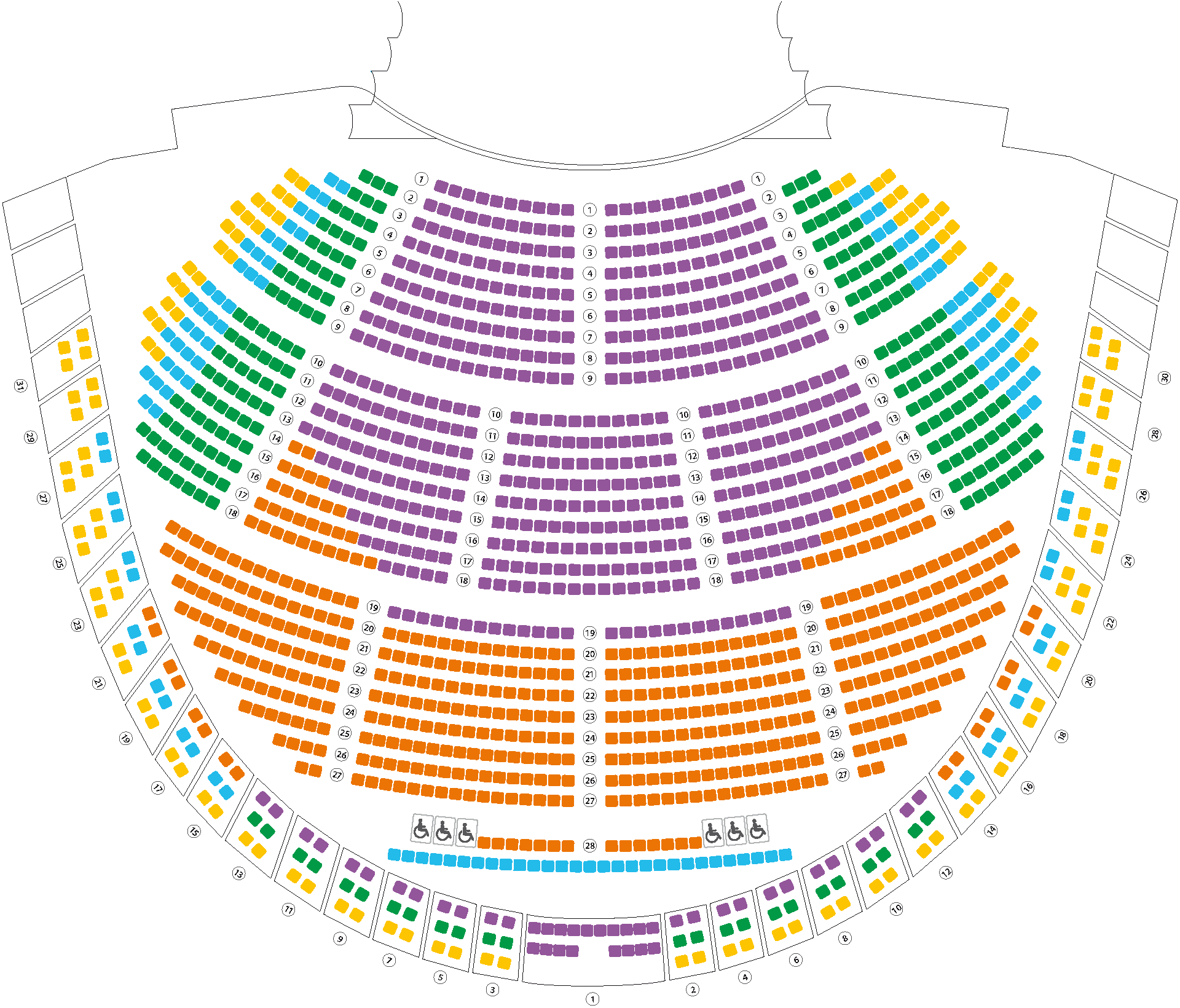 Floorplan with sectors for Opera and Ballet Season
