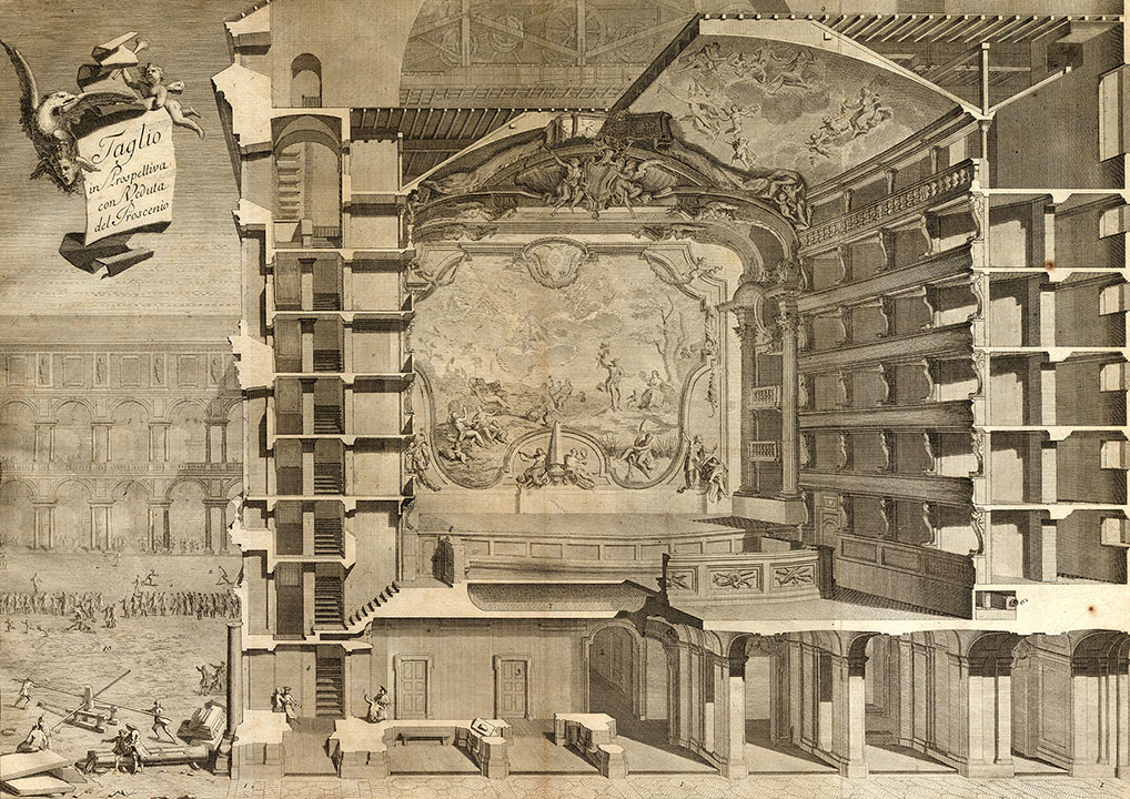 Benedetto Alfieri, Perspective cross section of Teatro Regio