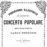 Programma illustrato del decimottavo Concerto Popolare sotto la direzione del Maestro Cavalier Carlo Pedrotti, Teatro Vittorio Emanuele, 1876